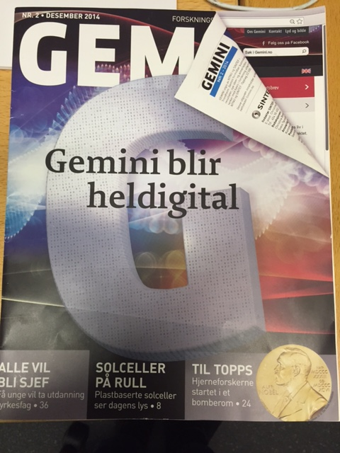 Historisk utgave: Dette er (foreløpig) siste utgave av forskningsmagasinet Gemini på papir. Nå finnes Gemini kun på nettet.