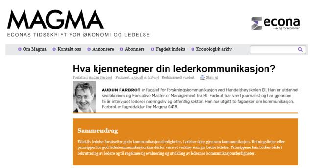 Hva kjennetegner din lederkommunikasjon_faksimile fra Magma