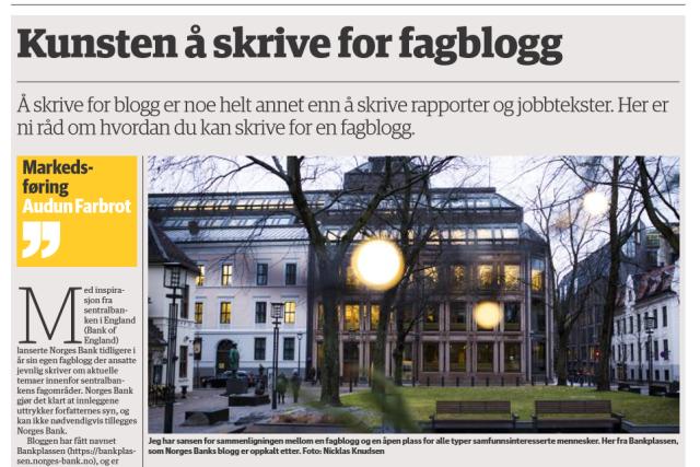 Kunsten å skrive for fagblogg_faksimile fra DN 06.11.2018